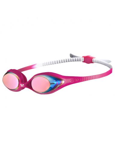 Arena Spider Junior Mirror Goggle White Pink Fuchsia
