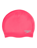 Speedo Plain Moulded Silicone Cap Red Pinkie